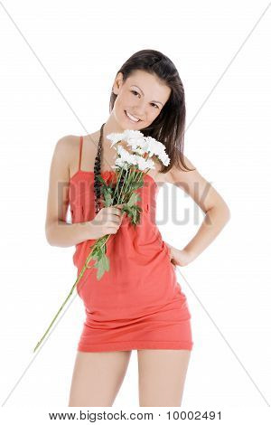 Cute Female In Red Dress With Flowers Posing Over White