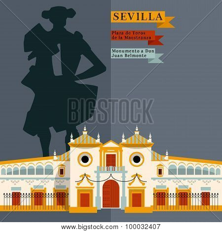 Plaza De Toros De La Maestranza. Monumento A Don Juan Belmonte. Sights Of Seville. Andalusia, Spain,