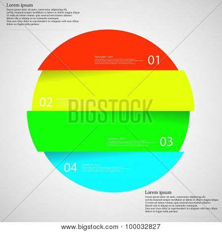 Illustration infographic with motif of colorful circle which is divided cut to four parts with unique number color and space for own customer text. Background is light. poster