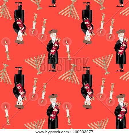 poster of Jewish tradition. Seamless background pattern with orthodox jewish man torah candles kiddush cup challah and menorah. Vector illustration