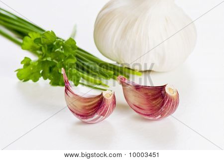 Cloves Of Garlic With Herbs