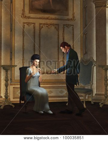 Regency Era Couple in Candlelit Ballroom