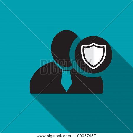 Defend black man silhouette icon on the blue background long shadow flat design icon for forums or web poster