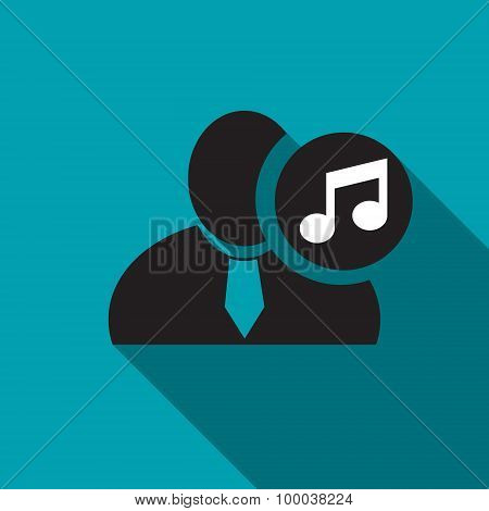 Music Note Black Man Silhouette Icon On The Blue Background, Long Shadow Flat Design Icon For Forums