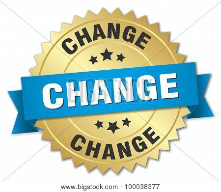 Change 3D Gold Badge With Blue Ribbon