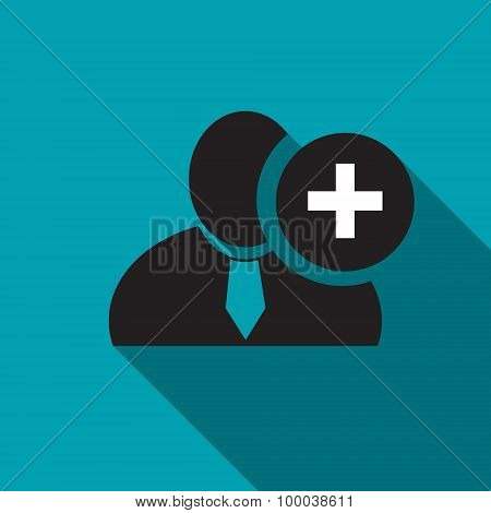 Plus Sign Black Man Silhouette Icon On The Blue Background, Long Shadow Flat Design Icon For Forums