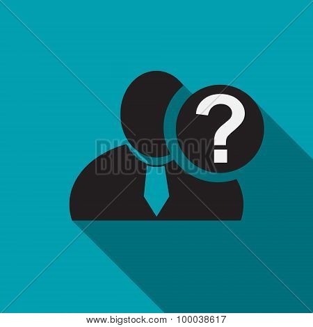 Question Mark Black Man Silhouette Icon On The Blue Background, Long Shadow Flat Design Icon For For