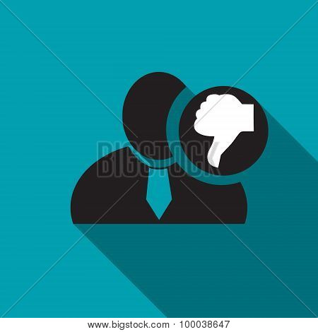 Thumb Down Black Man Silhouette Icon On The Blue Background, Long Shadow Flat Design Icon For Forums