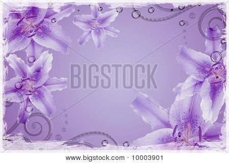 Abstract background with pink flowers and  drops