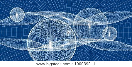 abstract background with geometric shapes balls and waves