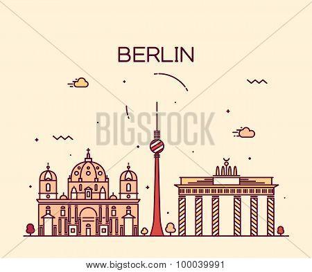 Berlin skyline trendy vector illustration linear