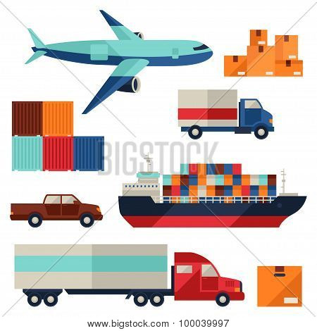Freight cargo transport icons set in flat design style