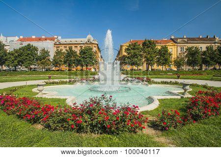 Fountain on King Tomislav Square in Zagreb, Croatia