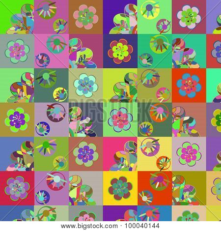 Fantasy abstract patchwork background vector illustration