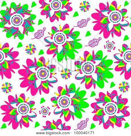 Abstract Colorful Floral Seamless Pattern And Seamless Pattern In Swatch Menu, Vector Image