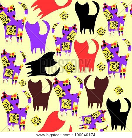 Cats Seamless Pattern And Seamless Pattern In Swatch Menu, Vector Image