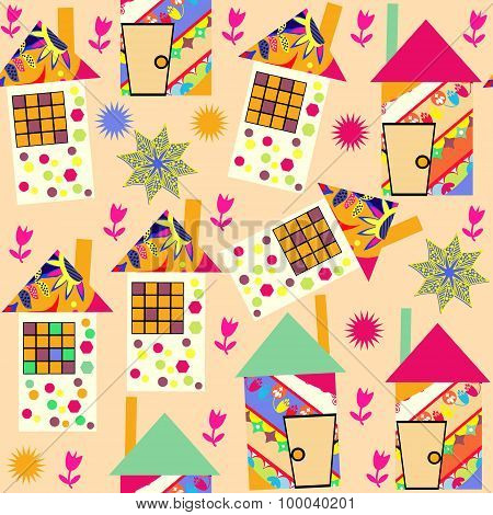 Cute colorful seamless pattern with abstract colorful houses and and seamless pattern in swatch menu