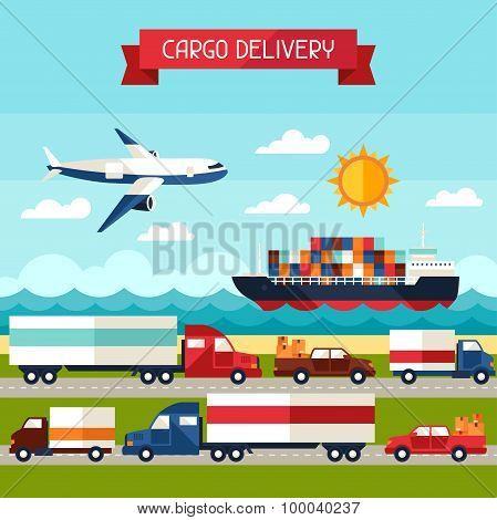 Freight cargo transport background in flat design style