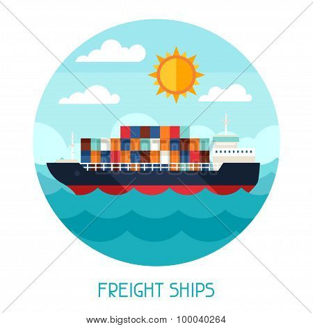 Freight ships transport background in flat design style