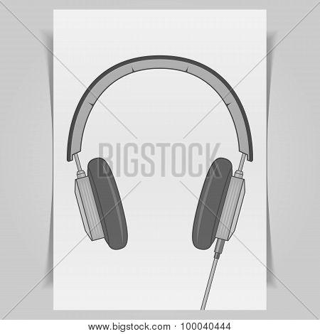 Graphic Headphones Design on white paper Sheet
