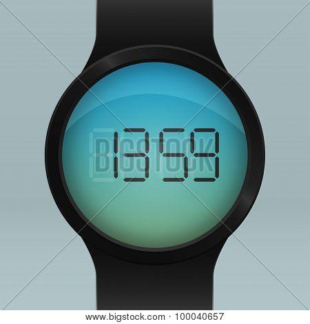 Realistic black Smart Watch