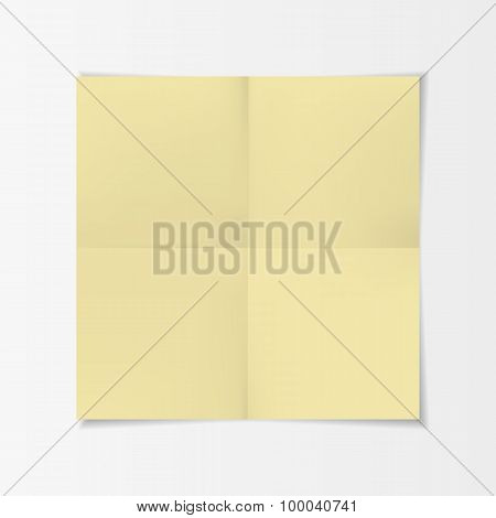 Realistic yellow folded Paper with Shadow