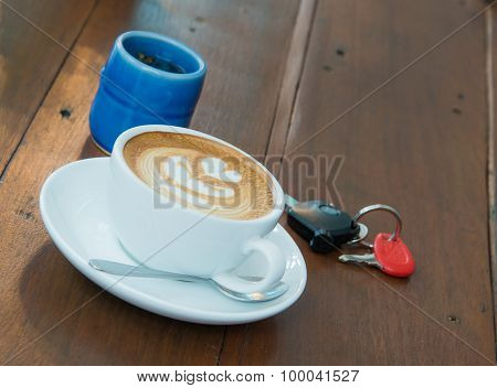 Latte Coffee And Tea on wooden floor.