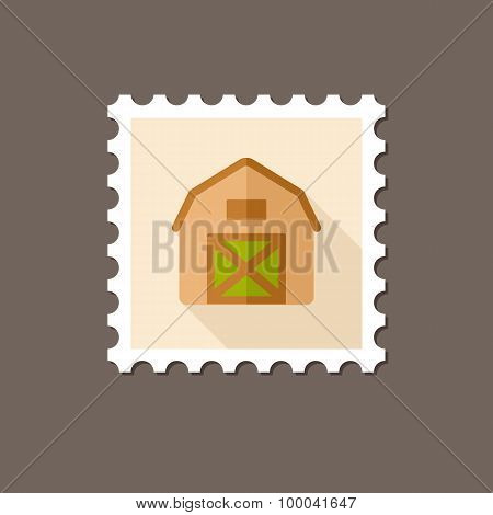 Barn House Flat Stamp With Long Shadow