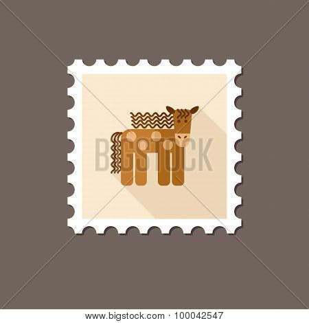 Horse Flat Stamp With Long Shadow
