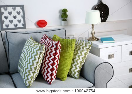 Beautiful modern living room with grey sofa