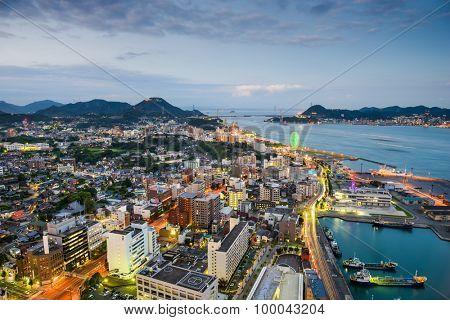 Shimonoseki, Japan skyline over the Kanmon Straits.