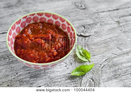 Homemade Tomato Sauce For Pasta, In A Bowl, On A Light Wooden Background