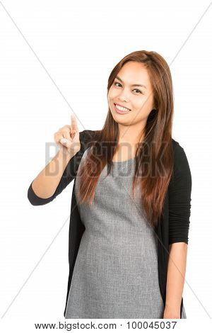 Asian Woman Pressing Touchscreen Interface At