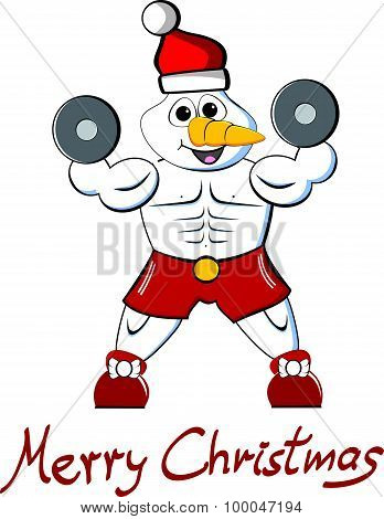 Muscle Snowman Merry Christmas
