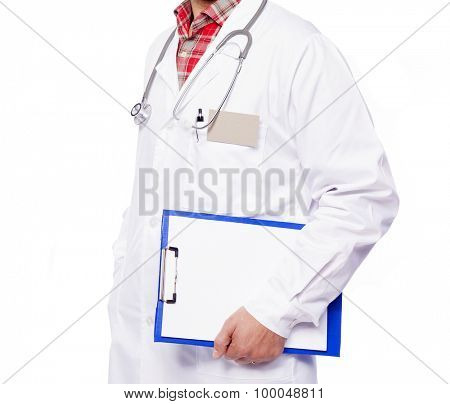 Medical doctor holding a clipboard, isolated on white background