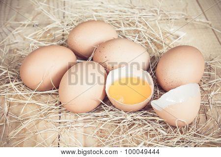 Fresh Farm Eggs On A Wooden Rustic Background