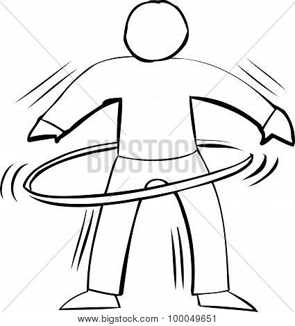 Outline Of Person Using Hula Hoop