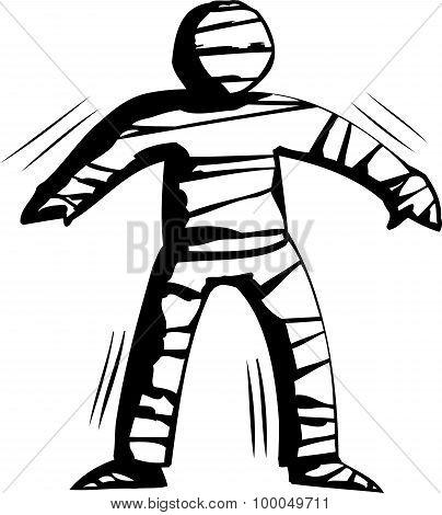 Outline Of Stiff Mummy Walking