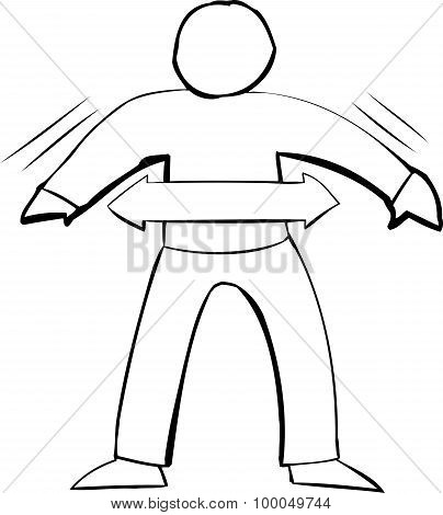 Outline Symbol Of Fit Person