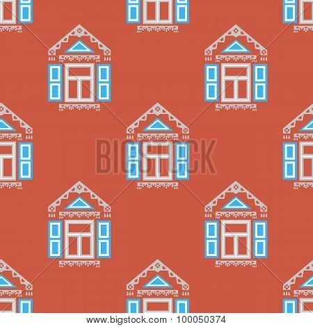 Seamless pattern with traditional Russian windows