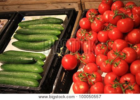 Organic Tomatoes And Cucumber