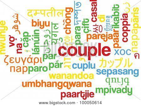 Background concept wordcloud multilanguage international many language illustration of couple