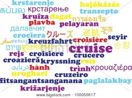 Background concept wordcloud multilanguage international many language illustration of cruise