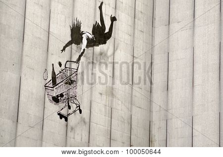 Banksy Falling Shopper Graffiti, London