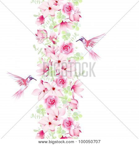 Gentle Magnolia, Roses And Hummingbirds. Vector Design Element With Exotic Birds.