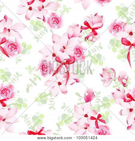 Magnolia And Rose Blossom With Red Bows Seamless Vector Pattern