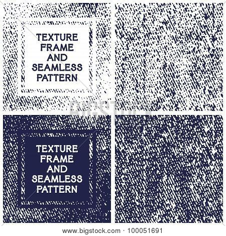 Vector Texture Frame And Seamless Pattern