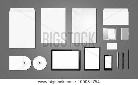 Corporate Branding Mockup Template, Dark Grey Background