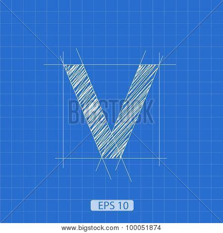 V letter architectural plan