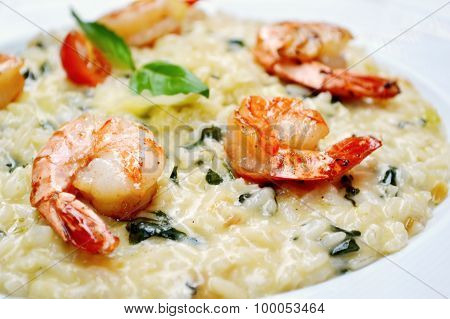 Tasty risotto with tiger prawns and special Arborio rice poster